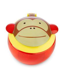 Skip Hop Snack Cup With Snap Top Lid Monkey Print - Red Brown