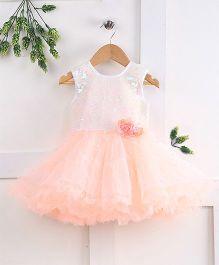 Pebbles Semi Sequenced Flare Pearl Applique Dress - Peach