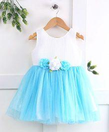 Pebbles Semi Flare Flower Applique Dress - Blue