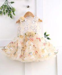 Pebbles Flower Printed Flare Baby Dress - Beige