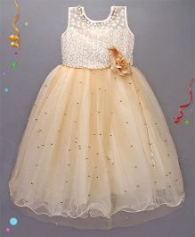 Babies Glitter Party Wear Gown - Cream