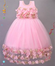 Babies Flower Design Party Wear Gown - Pink