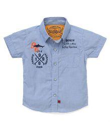 Little Kangaroos Short Sleeves Shirt Beach Print - Sky Blue