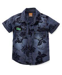 Little Kangaroos Half Sleeves Shirt Floral Print - Dark Blue