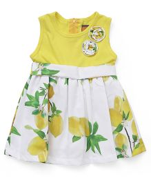 Little Kangaroos Sleeveless Frock Floral Appliques  - White Yellow