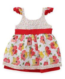 Little Kangaroos Flutter Sleeves Frock Floral Print - Red White