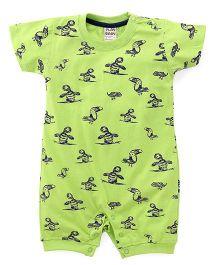 Little Kangaroos Half Sleeves Birds Print Rompers - Green