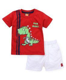 Little Kangaroos Half Sleeves T-Shirt & Shorts - Red White