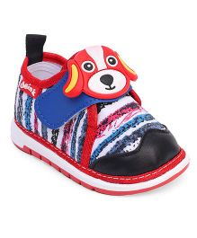 Doink Casual Shoes Puppy Applique - Black Red