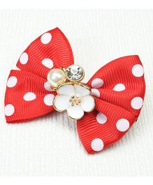Asthetika Polka Dot & Flower Hair Clip - Red