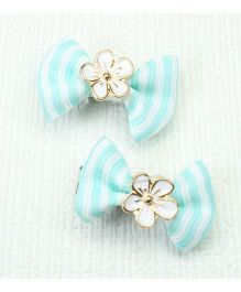 Asthetika Mini Bow Hair Clips Set Of 2 - Blue