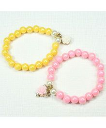 Asthetika Flower Pearl Bracelet Set Of 2 - Yellow & Pink