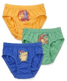 Bodycare Pokemon And Friends Printed Briefs Set Of 3 - Yellow Green Royal Blue
