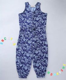 Holy Brats Printed Jumpsuit - Indigo Blue