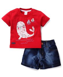 ToffyHouse Half Sleeves T-Shirt And Denim Shorts Seal Print - Red Blue