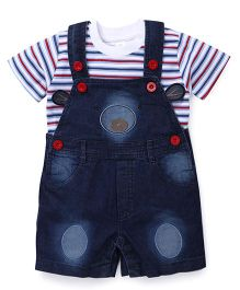 ToffyHouse Teddy Design Dungaree With Stripes T-Shirt - Blue White