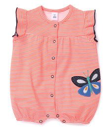 ToffyHouse Flutter Sleeves Stripes Romper With Butterfly Patch - Coral