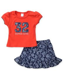 ToffyHouse Short Sleeves Top With 32 Patch And Floral Print Skirt - Coral Blue