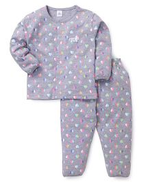 ToffyHouse Full Sleeves Night Suit Hearts Print - Grey