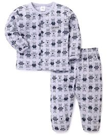 ToffyHouse Full Sleeves Night Suit Teddy Print - Grey