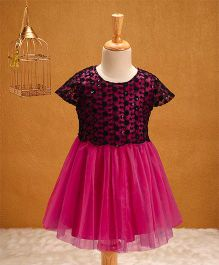 Babyhug Cap Sleeves Dress Sequin & Floral Details - Fuchsia