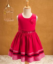 Babyhug Sleeveless Party Frock Floral Applique - Dark Red
