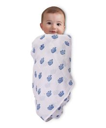 Mom's Home Organic Cotton Muslin Swaddle Small Elephant Print - White Blue
