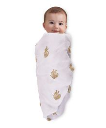 Mom's Home Organic Cotton Muslin Swaddle Small Turtle Print - White Orange