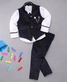 Adores Shirt Pant & Waistcoat With Tie For Boys - Black
