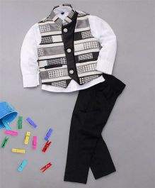 Adores Designer Shirt Pant & Waistcoat With Tie For Boys - Black