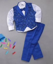Adores Shirt Pant & Waistcoat With Bow For Boys - Blue