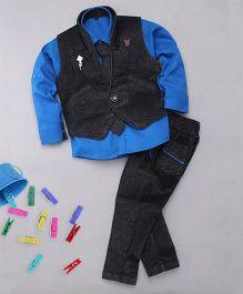 Adores 4 Piece Party Wear Set - Grey & Blue
