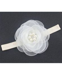 Angel Closet Flower With Pearls And Rhinestone Headband - White