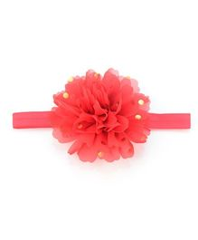 Angel Closet Flower Headband With Golden Polka Dots - Red