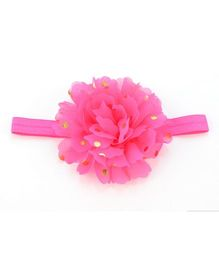 Angel Closet Flower Headband With Golden Polka Dots - Pink