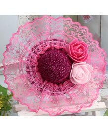 Angel Closet Hat With Lace Design Clip - Bright Pink