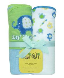 Kiwi Lil Elephant Design Hooded Towels Set Of 2 - Green Blue White