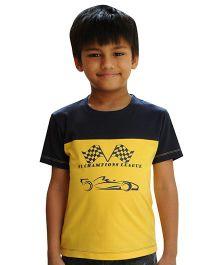 Snowflakes Half Sleeves T-Shirt F1 Champions Print - Yellow Blue