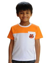 Snowflakes Half Sleeves T-Shirt Tiger Print - White Orange
