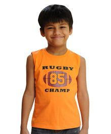 Snowflakes Sleeveless T-Shirt Rugby 85 Champ Print - Orange
