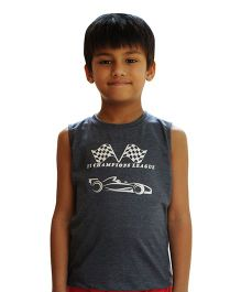 Snowflakes Sleeveless T-Shirt F1 Champions Print - Dark Grey