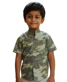Snowflakes Half Sleeves Camouflage Shirt - Green