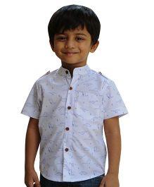 Snowflakes Half Sleeves Shirt Dinosaur Print - White