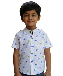 Snowflakes Half Sleeves Shirt Crab Print - White