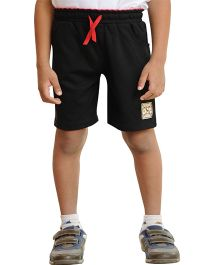 Snowflakes Solid Colour Shorts With Drawstring - Black