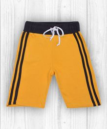 Pranava Horizontal Stripe Organic Cotton Shorts - Yellow