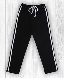 Pranava Verticle Stripe Organic Cotton Track Pants - Black