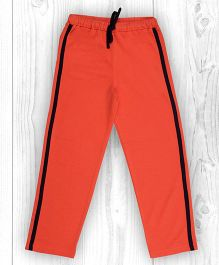 Pranava Stripe Oranic Cotton Track Pants - Orange