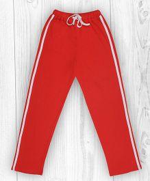Pranava Single Stripe Organic Cotton Track Pants - Red