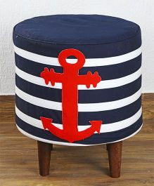 My Gift Booth Anchor Patch Pouf - Navy